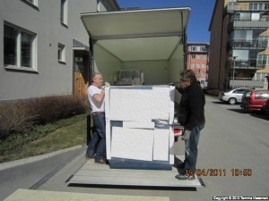 Disk and Tape drive cabinet being unloaded
